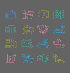 electric car outine icons set vector image