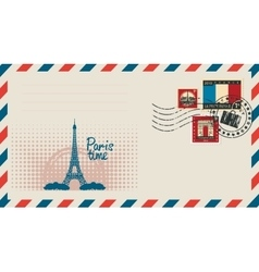envelope with with Eiffel tower vector image
