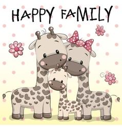 Family of Three Giraffes vector
