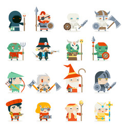 Fantasy rpg game heroes villains minions character vector