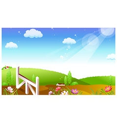 Farmland landscape background vector