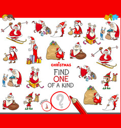 Find one of a kind game with santa claus vector