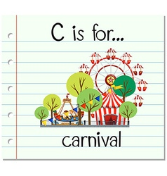 Flashcard letter C is for carnival vector