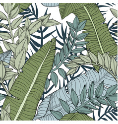 floral jungle seamless leaves pattern vector image