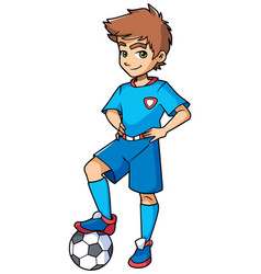 Football boy standing vector