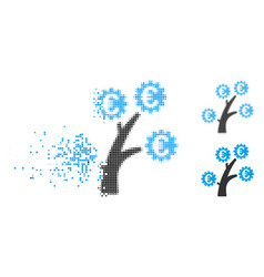 Fractured dot halftone euro technology tree icon vector