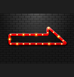 Frame light sign arrow retro on background brick vector