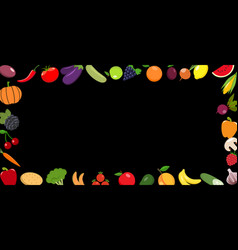 frame of organic food fresh vegetables with vector image