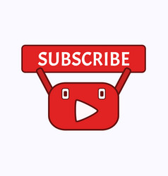 funny mascot youtube channel subscribe button vector image