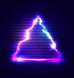 glitch art with neon triangle glitched frame vector image