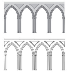 Gothic arch and column vector