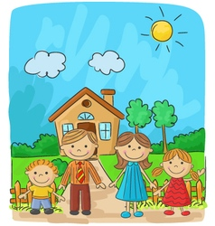 Happy family against a landscape and the house vector