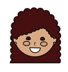 happy girl with curly hair kid child icon image vector image