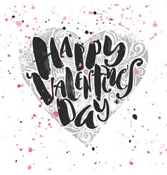 Happy valentines day love concept hand lettering vector image