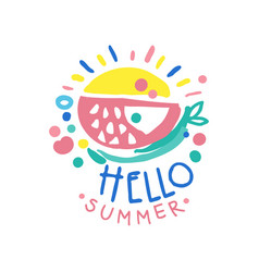 Hello summer logo summer season label colorful vector
