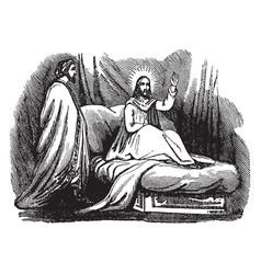 jesus teaches nicodemus about the kingdom of vector image