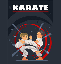 Karate poster kids sports vector