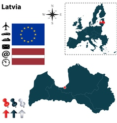 Latvia and European Union map vector