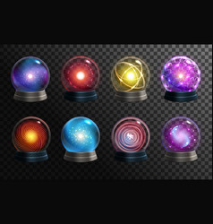Magic crystal balls on transparent background vector