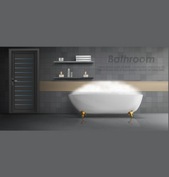 Mockup of modern bathroom interior vector