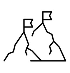 mountain peak flag icon outline style vector image