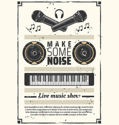 Music show retro poster synthesizer and headphones vector