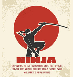 Ninja retro poster black vector