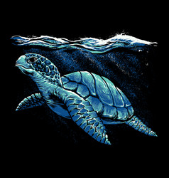 ocean turtle art vector image