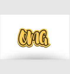 Omg yellow black hand written text postcard icon vector