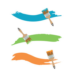 paint brush with paint color in flat style vector image