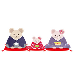 Personified rat family dressed in japanese kimono vector