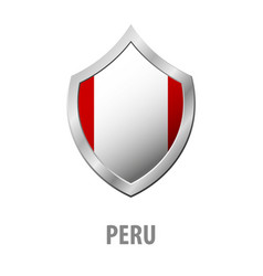 peru flag on metal shiny shield vector image