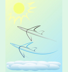 Planes in the sky vector