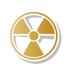 Radiation round sign golden gradient icon vector