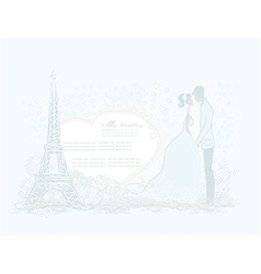 Romantic wedding couple in Paris kissing near the vector image