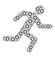 Running man composition of gear vector