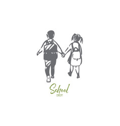 schoolkids concept sketch isolated vector image