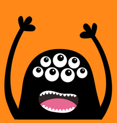 Screaming monster head silhouette many eyes teeth vector