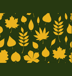 Seamless pattern with yellow autumn leaves vector