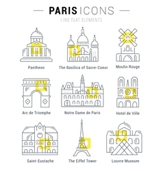 Set Flat Line Icons Paris Architecture vector
