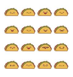 Set fun kawaii taco icon cartoons vector