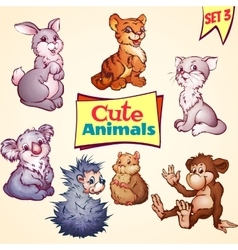 Set of cute animals cat hare koala and vector
