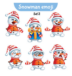 set of cute snowman characters set 2 vector image