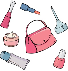 Set of different cosmetic items vector