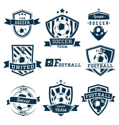set soccer football logos emblems and badges vector image