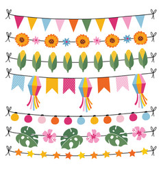 set tropical summer garlands string lights vector image