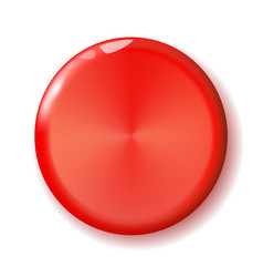 shiny circle red button for holiday and for vector image
