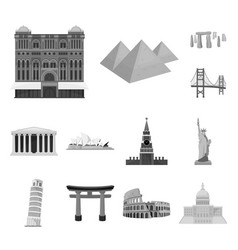 Sights of different countries monochrome icons in vector