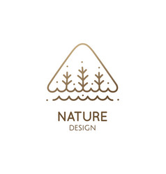 simple triangle logo trees and river vector image