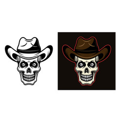 skull in cowboy hat in two vector image